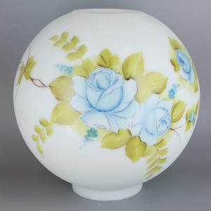 10IN. OPEN BALL WITH BLUE MIST AND BEIGE AND PINK HAND PAINTED FLOWERS AND 4IN. BOTTOM FITTER