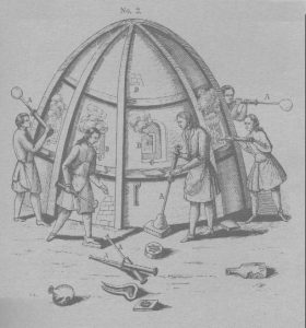 One form of glass furnace factory. Didderot's famous Encyclopedia