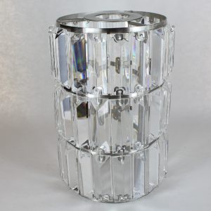 6IN DIAMETER X 8-7/8IN HEIGHT BRUSHED NICKEL CRYSTAL PRISM CYLINDER SHADE WITH 1-5/8IN HOLE